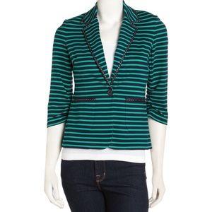 Laundry Shelli Segal Striped Blazer Green Navy NWT